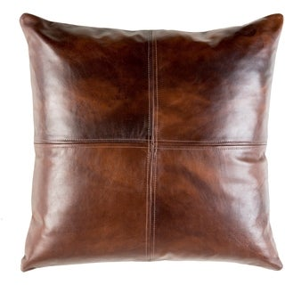 Mohan Leather Dark Brown Feather Down or Poly Filled Throw Pillow 20-inch