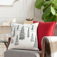 Arbores Holiday White Feather Down or Poly 18-inch Throw Pillow