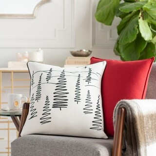 Arbores Tree Holiday White Down or Poly Filled Throw Pillow 18 inch