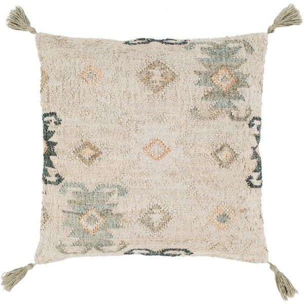 Maddox Traditional Khaki Feather Down or Poly Filled Throw Pillow 30 inch