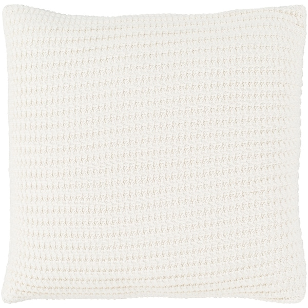 Tamati Knit Cream Feather Down or Poly Filled Throw Pillow 20-inch