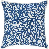Lynna Coastal Dark Blue Feather Down or Poly Filled Throw Pillow 22-inch