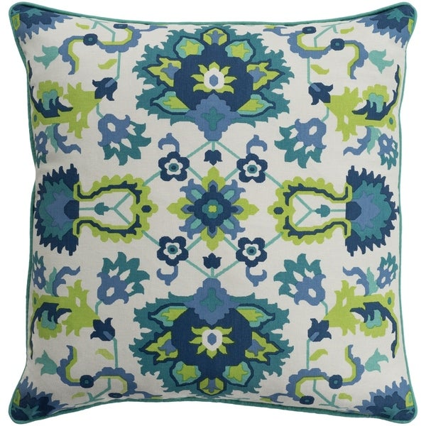 Kyna Floral Modern Teal Feather Down or Poly Filled Throw Pillow 20-inch