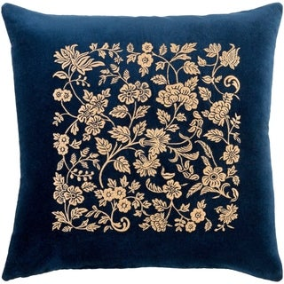 Samar Traditional Floral Navy Feather Down or Poly Filled Throw Pillow 22-inch