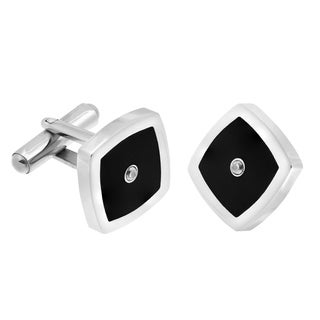 Stainless Steel Square Cufflinks with Black Plating and Cubic Zirconia