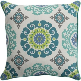 Jacquelyn Medallion Modern Mint Feather Down or Poly Filled Throw Pillow 20-inch