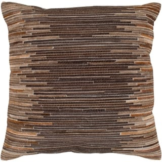 Aatos Hide Dark Brown Feather Down or Poly Filled Throw Pillow 20-inch