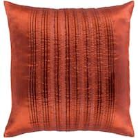 Josune Metallic Burnt Orange Feather Down or Poly Filled Throw Pillow 18-inch