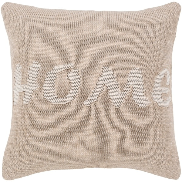 Trise Home Khaki Feather Down or Poly Filled Throw Pillow 18-inch