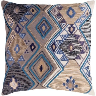 Hasan Traditional Taupe Feather Down or Poly Filled Throw Pillow 22-inch