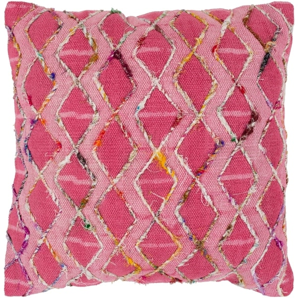 Mahva Traditional Fuchsia Feather Feather Down Throw Pillow 20-inch