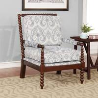 Linon Nesbit Blue Damask Upholstered Brown Wood Frame Spindal Chair