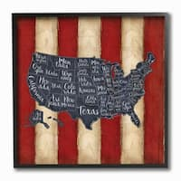 United States Map Red White Blue Framed Giclee Texture Art