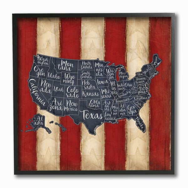 Shop United States Map Red White Blue Framed Giclee Texture Art - On ...