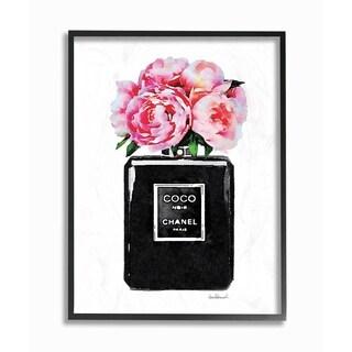 Glam Perfume Bottle w/ Peony Framed Giclee Texture Art