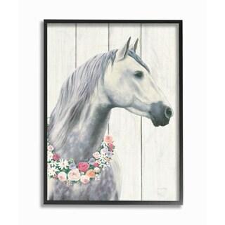 Spirit Stallion Horse w/ Wreath Framed Giclee Texture Art