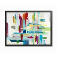 Colorful Cross Hatch Abstraction Framed Giclee Texture Art