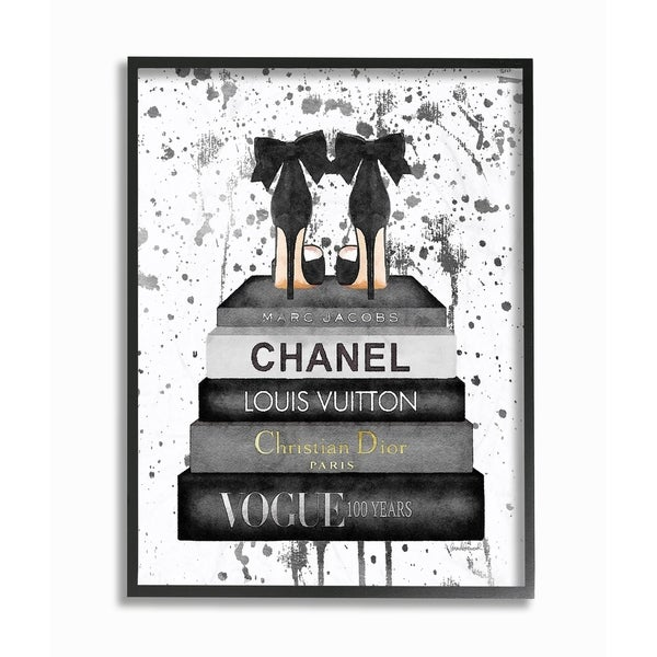 Glam Fashion Books w/ Bow Pumps Framed Giclee Texture Art