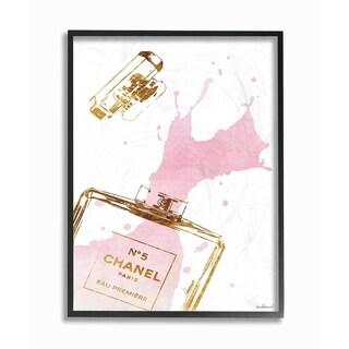 Glam Perfume Bottle Splash Framed Giclee Texture Art