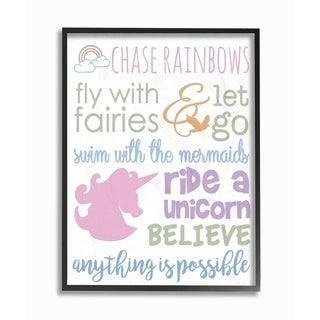 Chase Rainbows Believe Typography Framed Giclee Texture Art