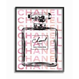 Glam Perfume Bottle w/ Words Framed Giclee Texture Art