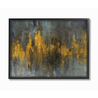 Black and Gold Abstract Fire Framed Giclee Texture Art