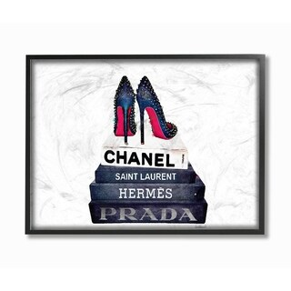 Glam Fashion Books w/ Stud Pumps Framed Giclee Texture Art