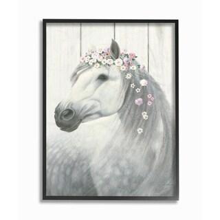 Spirit Stallion Horse w/ Crown Framed Giclee Texture Art
