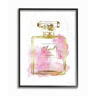 Glam Perfume Bottle Gold Pink Framed Giclee Texture Art