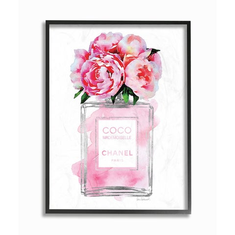 Glam Perfume Bottle V2 Peony Framed Giclee Texture Art