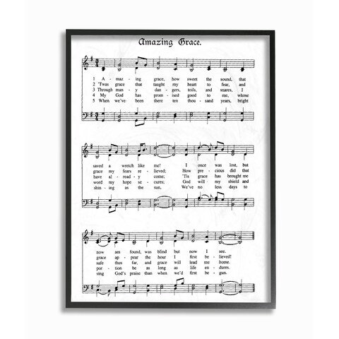 Amazing Grace Vintage Sheet Music Framed Giclee Texture Art