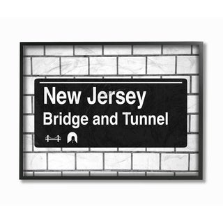 New Jersey Bridge and Tunnel Sign Framed Giclee Texture Art