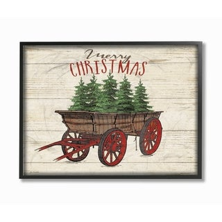 Merry Christmas Tree Wagon Framed Giclee Texture Art