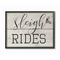 Sleigh Rides Vintage Christman Sign Framed Giclee Texture Art
