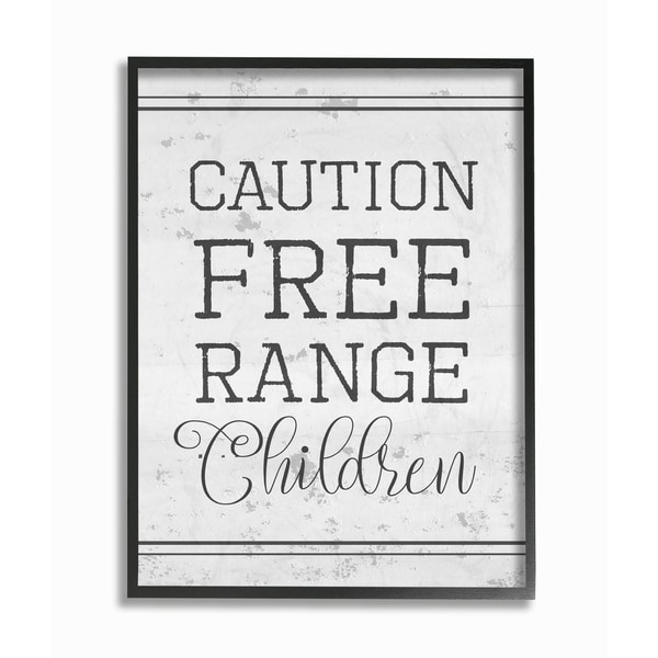 Caution Free Range Children Framed Giclee Texture Art