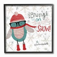 Bring on the Snow Hipster Penguin Framed Giclee Texture Art