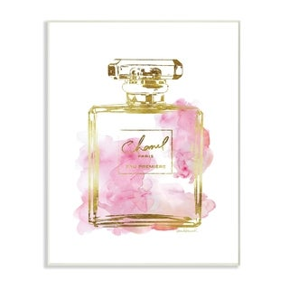 Glam Perfume Bottle Gold Pink Wall Plaque Art