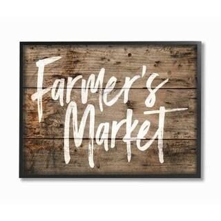 Farmer's Market Distress Wood Look Framed Giclee Texture Art