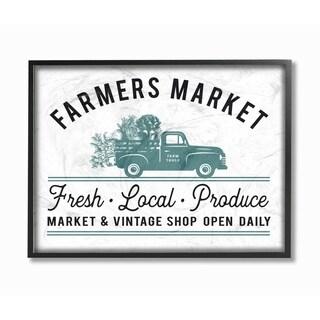 Farmer's Market Icon Vintage Sign Framed Giclee Texture Art