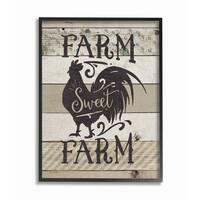 Farm Sweet Farm Rustic Rooster Framed Giclee Texture Art