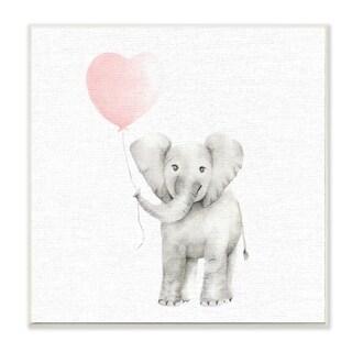 Baby Elephant Heart Balloon Linen Look Wall Plaque Art
