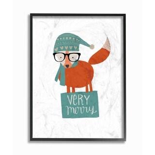 Very Merry Hipster Fox Framed Giclee Texture Art