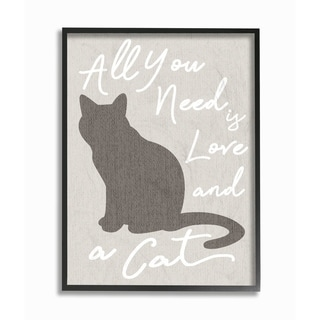 All You Need is Love and a Cat Framed Giclee Texture Art