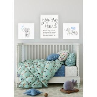Baby Elephant Blue Bubbles Linen Look Wall Plaque Art