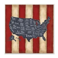 United States Map Red White Blue Wall Plaque Art