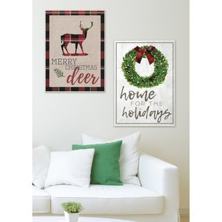 Home for the Holidays Wreath Bow Wall Plaque Art