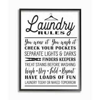 Laundry Rules w/ Hanger Typography Framed Giclee Texture Art