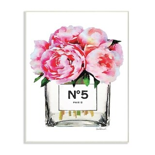 Glam Paris Vase with Pink Peony Wall Plaque Art