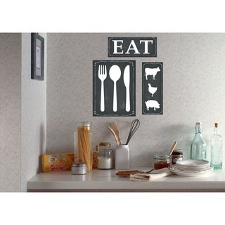 EAT Black and White Wall Plaque Art