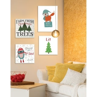 Very Merry Hipster Fox Wall Plaque Art